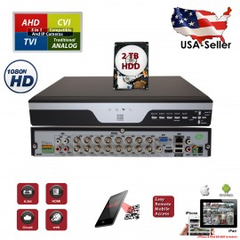 EV-DVR16XVR-1080N-2HDD 16 Channel H.264 1080N 5in1 Standalone DVR Recording Compatible With AHD TVI CVI Analog Cameras with 2 TB HDD