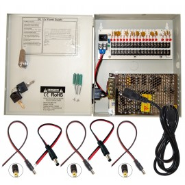 EV-PB18-10P Power Box - 18 Ch Channel 12 Volt DC Output CCTV Distributed Power Supply  Box with 18pcs DC Male Pigtail