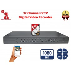 32 Channel 8TB H.265 AHD TVI CVI Analog  Home Office Professional DVR Recorder HDMI QR Cloud Support with 8TB Hard Drive Installed
