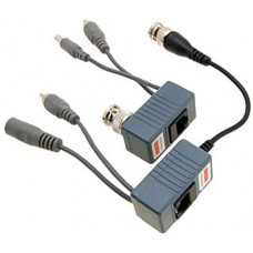 1 Pair of Video and Audio Balun Transceivers with mini-coax cable and power connector Compatible with 1080P/720P TVI AHD CVI Analog CCTV Cameras