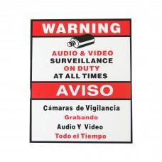 Engish Spanish CCTV Warning Security Audio Video Surveillance Sign