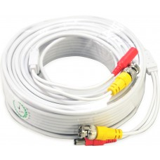 100 Feet White ready made cable with power and video for CCTV Surveillance System