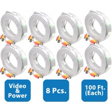 EV-C100VP-W : 8pcs. 100 Feet White Cable CCTV Security Camera Power Video Cabe Ready Made Cable Power + Video