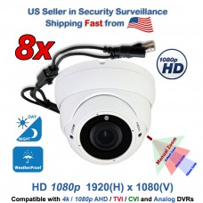 8 Pcs. 1080P HD Indoor / Outdoor Night Vision CCTV Security Dome Camera Analog AHD TVI CVI