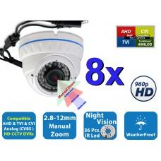 8 Pcs HD 960P Night Vision Manual Zoom Indoor Outdoor Home CCTV Security Camera