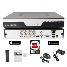 8 Channel 1080N AHD Realtime H.265 high Profile Standalone DVR Recording Compatible With AHD/TVI/CVI/ Analog Camera with 2TB HDD