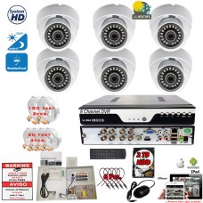 8 Channel HD Surveillance Set with 6pcs. 1080p CCTV Security Dome Cameras w/2TB Hard Drive and Remote Access