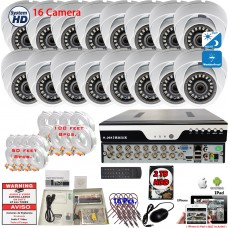 16 Channel Surveillance System w/ 2TB Hard Drive and 1080p Indoor/Outdoor fixed lens Dome Security Cameras