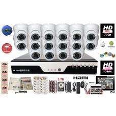 16 Channel HD 1080N DVR & 16x 720P Security Surveilance Camera Complete Set 2TB