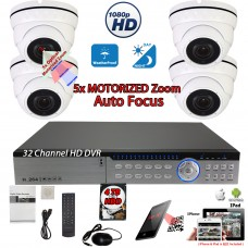 32 Channel H.264 DVR with 4 Pcs. 5x Motorized 1080P Auto-focus Night Vision Outdoor Indoor camera for Cash Register and License Plate w/4TB