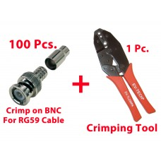 100 Pcs. Professional RG59 / BNC Male Crimp-On Connector with Crimping Tool
