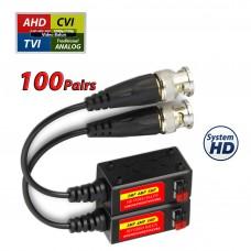 Split Joint Mini CCTV BNC HD-CVI/TVI/AHD Passive Video Balun Transceiver  - 100 Pairs