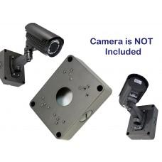 """Black/Gray 5.3"""" Camera Base Junction Outlet Box for Adjustable Lens Bullet CCTV Security Cameras"""
