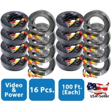 16pcs. 100 Feet Pre-made Video and Power Black Cable for CCTV Surveillance Systems