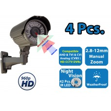 4x 960P HD 4 in 1 Night Vision Outdoor Indoor CCTV Home Bullet Security Camera