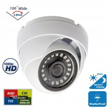 Full HD 1080p Indoor Outdoor Dome Security Camera 4-in1 HD-CVI/TVI/AHD/Analog Night Vision 2.8mm Lens White Metal Housing CCTV Camera