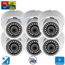 6 Pcs 1080p Dome CCTV Camera Wide Angle Lens Indoor Outdoor Weatherproof Metal casing