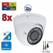 8 pcs. 1080p HD Security CCTV Camera 4-in-1 TVI/AHD/CVI/Analog (960H/CVBS) Day Night Vision Outdoor Indoor Weatherproof Wide Angle Manual Zoom CCTV Security Surveillance Camera