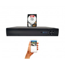 16 Channel 2TB H.265  2 Hard Drive Capacity DVR Compatible With AHD TVI CVI Analog Cameras with 2TB HDD