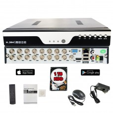 Evertech 16 Channel Digital Video Recorder H.265 Hybrid 4in1 AHD TVI CVI Analog CCTV Security Camera DVR  with 1 TB HDD