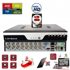 16Ch H.264 High-Definition Hybrid TVI AHD CVI Analog Home Office Standalone CCTV Security Digital Video Recorder w/4TB HDD Installed and Pre-Configured