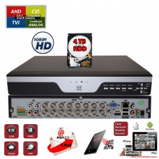 16 Channel Digital Video Recorder H.265 Hybrid 4in1 AHD TVI CVI Analog CCTV Security Camera DVR w/4TB HDD Installed and Pre-Configured
