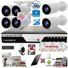 8 Channel HD DVR w/ 6 pcs 4in1 AHD TVI CVI ANALOG 1080P Manual Zoom Lens Bullet CCTV Security Camera System w/ 2TB Hard Drive, Cables and Power Supply
