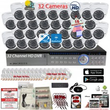 32 Channel complete CCTV Surveillance system with H.264 DVR/2TB HDD and 32 x Outdoor Indoor 1080p 2.8-12mm adjustible lens security cameras