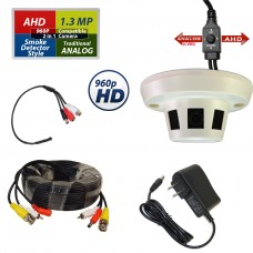 Smoke Detector Style Hidden Covert Nanny CCTV Security Camera, Cable & Audio Kit