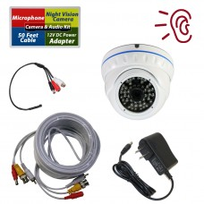 Security Camera with CCTV High Sensitive Microphone Audio Video Power Cable Kit