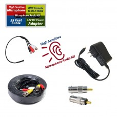CCTV Microphone Kit for Security System, 25 FT Black Cable, 12V DC Adapter