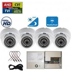 4X CCTV Security Camera HD 1080p AHD TVI CVI Analog Night Vision Outdoor Indoor w/Power Supply
